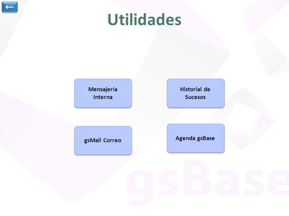 Mensajería Interna Mensajería Interna Historial de Sucesos Historial de Sucesos Agenda gsBase gsMail Correo Utilidades