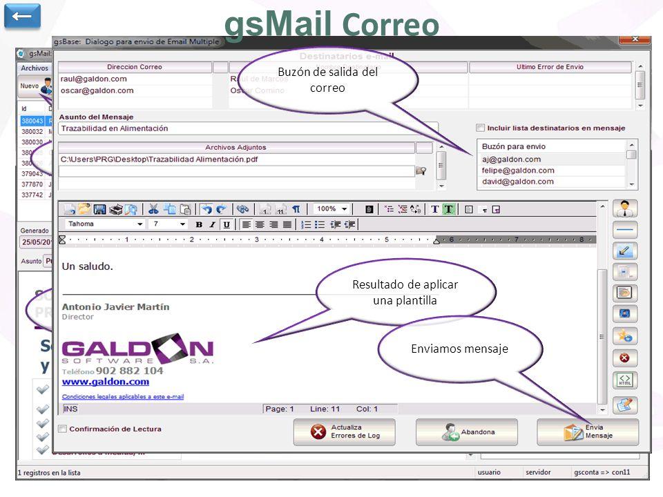 Utilidad para envío y recepción de correo electrónico. (Es necesario disponer de la aplicación de correo electrónico centralizado GsMail) Es posible g