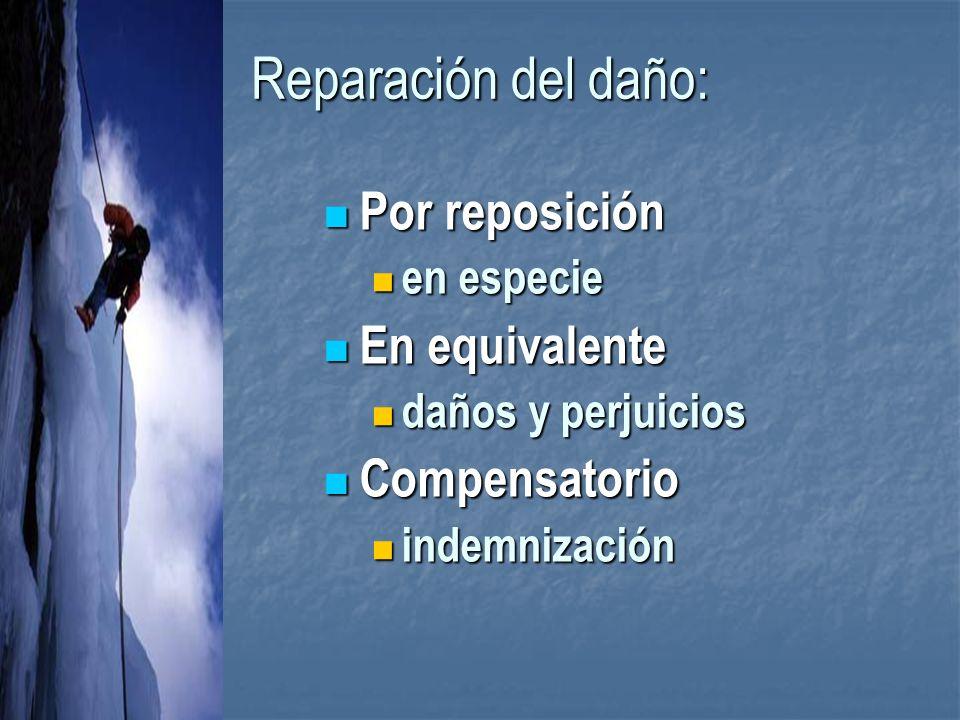 Reparación del daño: Por reposición Por reposición en especie en especie En equivalente En equivalente daños y perjuicios daños y perjuicios Compensatorio Compensatorio indemnización indemnización