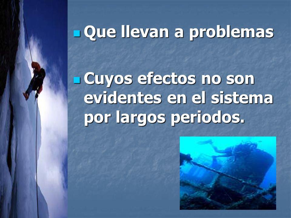 Que llevan a problemas Que llevan a problemas Cuyos efectos no son evidentes en el sistema por largos periodos.