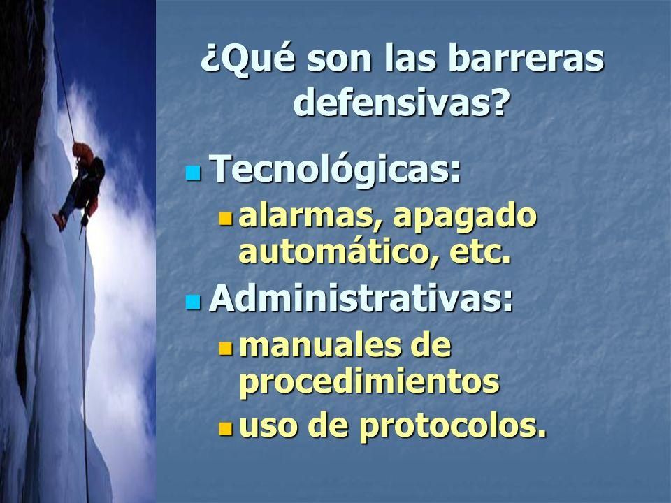 ¿Qué son las barreras defensivas.Tecnológicas: Tecnológicas: alarmas, apagado automático, etc.