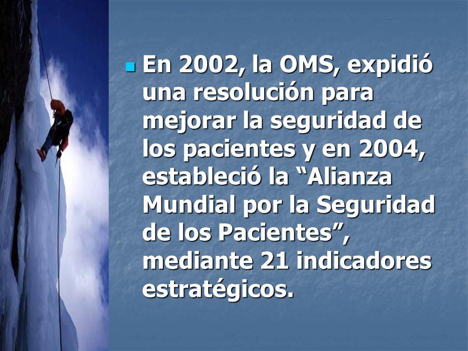 En 2002, la OMS, expidió una resolución para mejorar la seguridad de los pacientes y en 2004, estableció la Alianza Mundial por la Seguridad de los Pacientes, mediante 21 indicadores estratégicos.