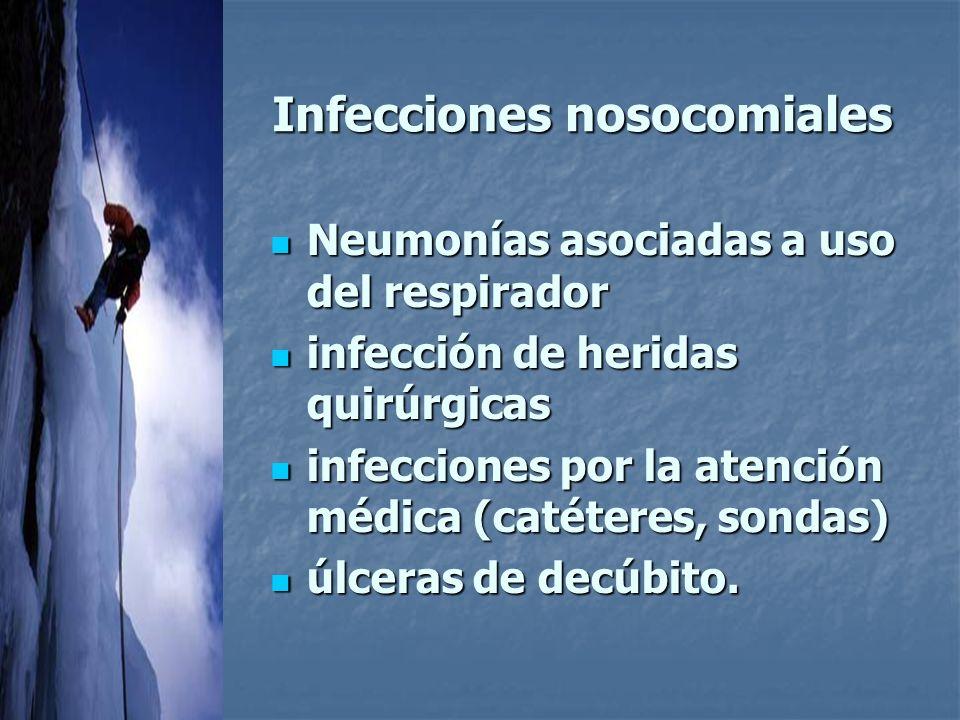 Infecciones nosocomiales Neumonías asociadas a uso del respirador Neumonías asociadas a uso del respirador infección de heridas quirúrgicas infección de heridas quirúrgicas infecciones por la atención médica (catéteres, sondas) infecciones por la atención médica (catéteres, sondas) úlceras de decúbito.