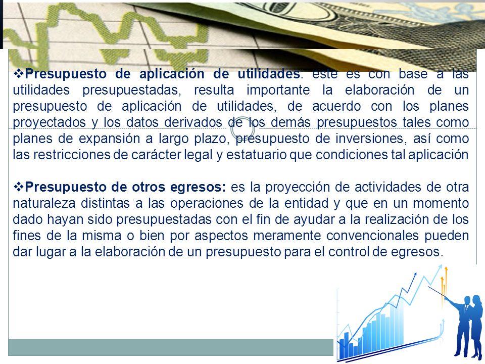 Presupuesto de aplicación de utilidades: este es con base a las utilidades presupuestadas, resulta importante la elaboración de un presupuesto de apli