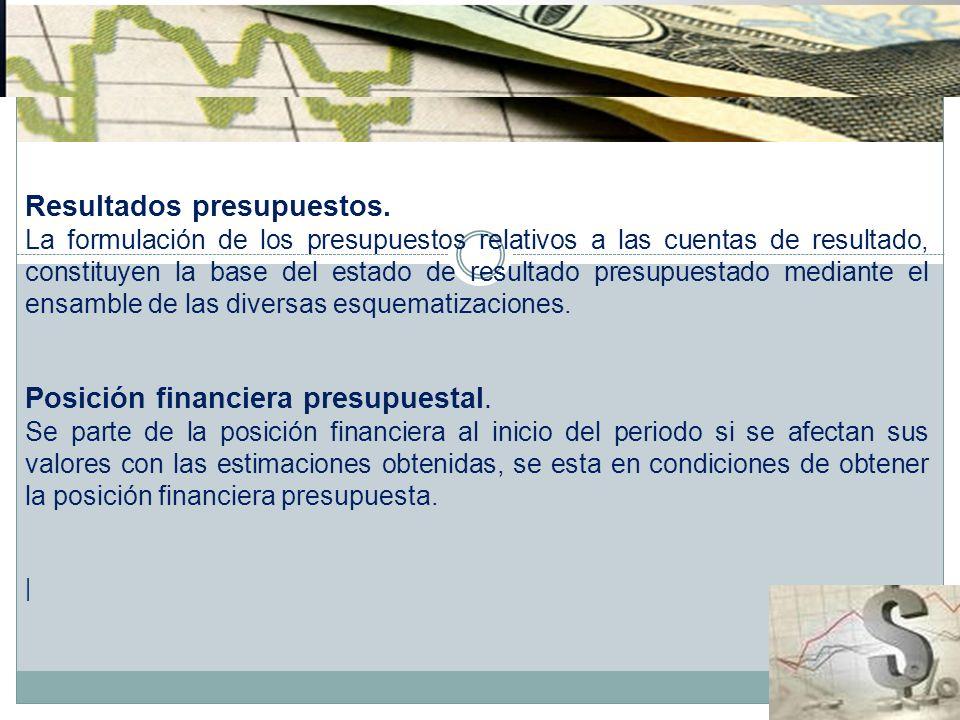 Resultados presupuestos. La formulación de los presupuestos relativos a las cuentas de resultado, constituyen la base del estado de resultado presupue