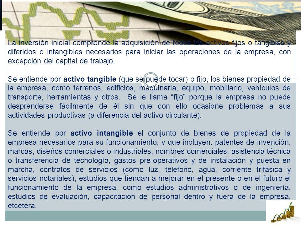 La inversión inicial comprende la adquisición de todos los activos fijos o tangibles y diferidos o intangibles necesarios para iniciar las operaciones