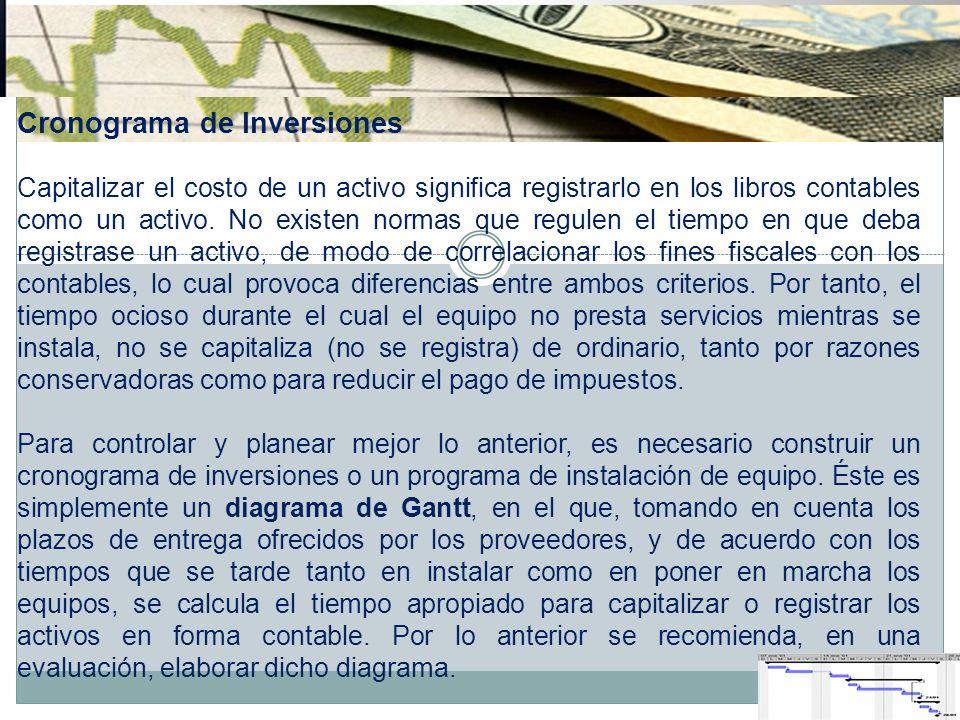 Cronograma de Inversiones Capitalizar el costo de un activo significa registrarlo en los libros contables como un activo. No existen normas que regule