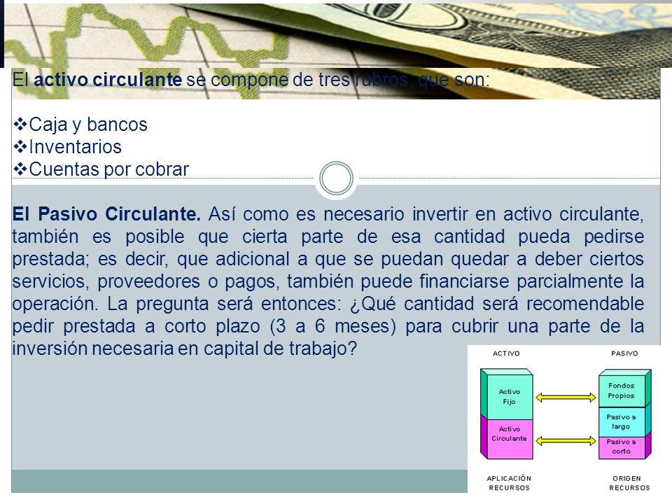 El activo circulante se compone de tres rubros, que son: Caja y bancos Inventarios Cuentas por cobrar El Pasivo Circulante. Así como es necesario inve