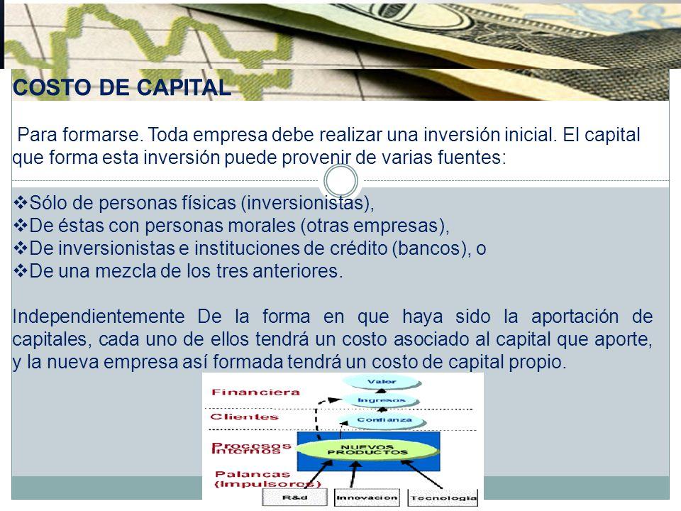 COSTO DE CAPITAL Para formarse. Toda empresa debe realizar una inversión inicial. El capital que forma esta inversión puede provenir de varias fuentes