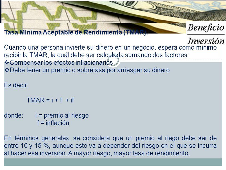 Tasa Mínima Aceptable de Rendimiento (TMAR). Cuando una persona invierte su dinero en un negocio, espera como mínimo recibir la TMAR, la cuál debe ser