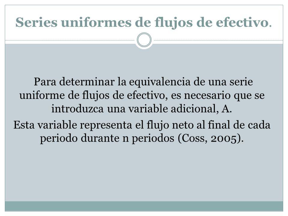 Series uniformes de flujos de efectivo. Para determinar la equivalencia de una serie uniforme de flujos de efectivo, es necesario que se introduzca un