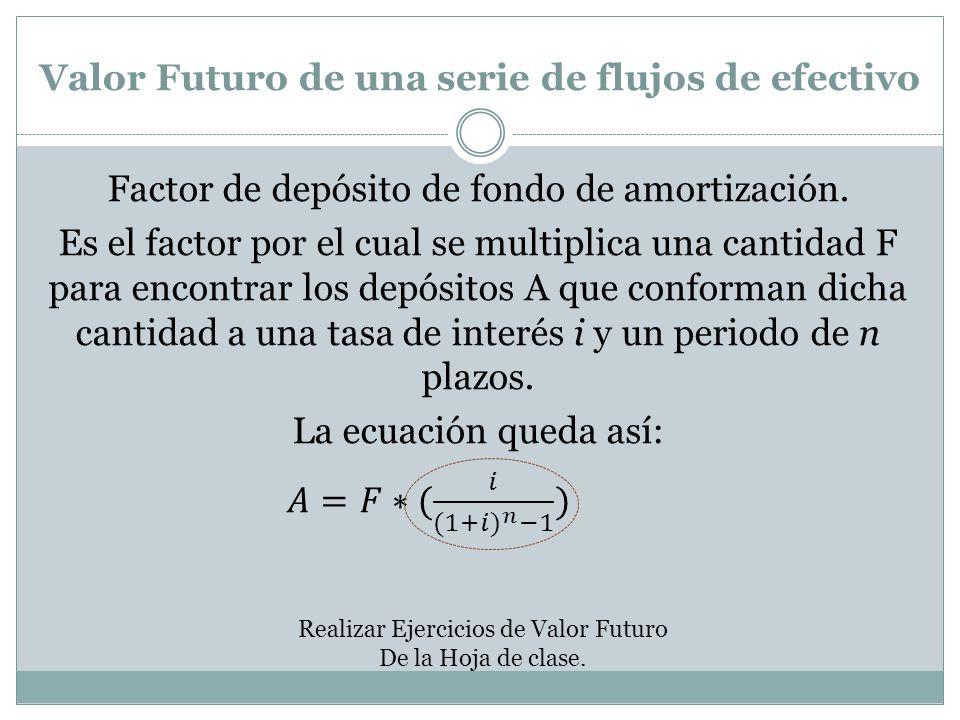 Valor Futuro de una serie de flujos de efectivo Realizar Ejercicios de Valor Futuro De la Hoja de clase.
