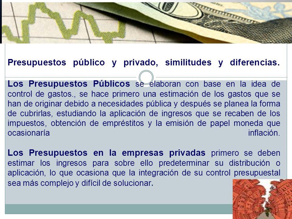 Presupuestos público y privado, similitudes y diferencias. Los Presupuestos Públicos se elaboran con base en la idea de control de gastos., se hace pr