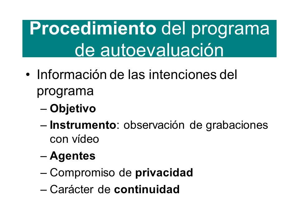 Procedimiento del programa de autoevaluación Información de las intenciones del programa –Objetivo –Instrumento: observación de grabaciones con vídeo –Agentes –Compromiso de privacidad –Carácter de continuidad