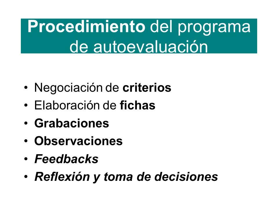 Procedimiento del programa de autoevaluación Negociación de criterios Elaboración de fichas Grabaciones Observaciones Feedbacks Reflexión y toma de decisiones