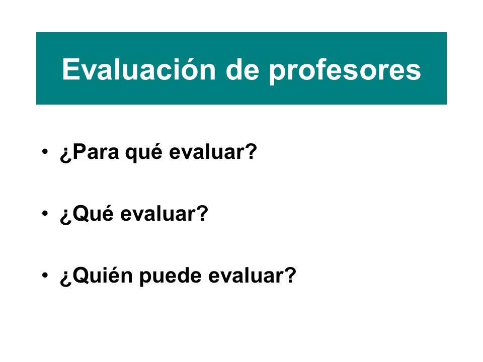 Evaluación de profesores ¿Para qué evaluar ¿Qué evaluar ¿Quién puede evaluar