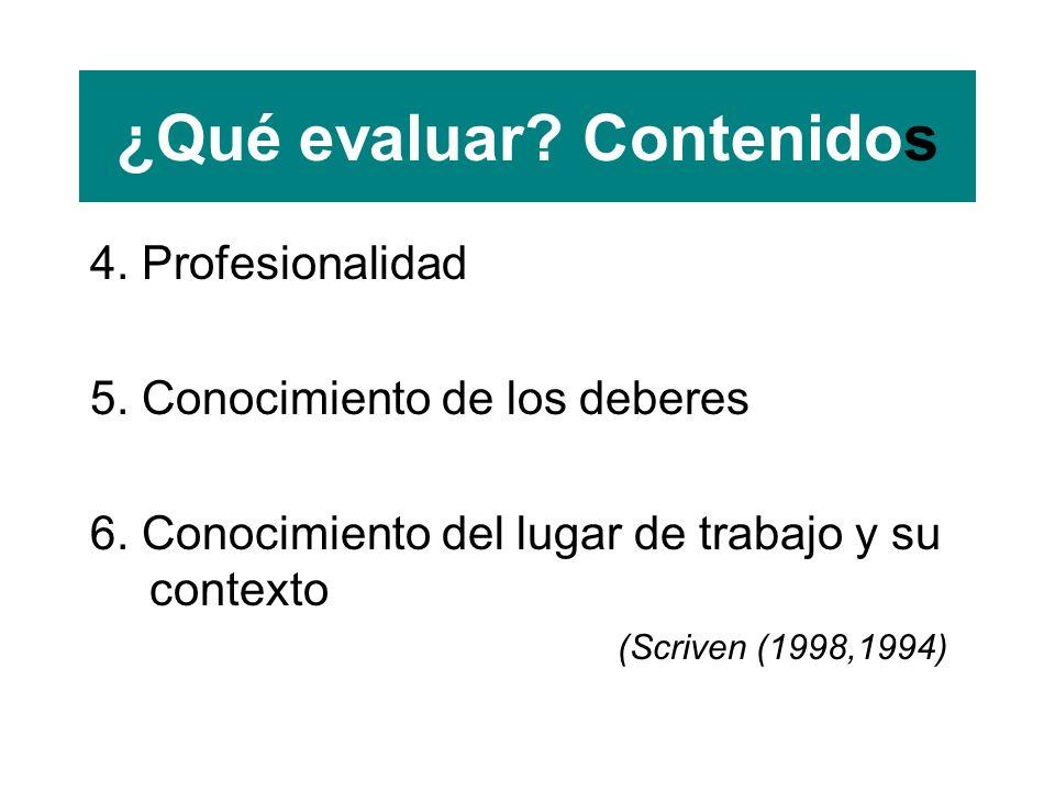 ¿Qué evaluar. Contenidos 4. Profesionalidad 5. Conocimiento de los deberes 6.