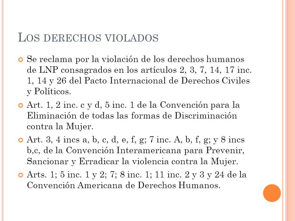 L OS DERECHOS VIOLADOS Se reclama por la violación de los derechos humanos de LNP consagrados en los artículos 2, 3, 7, 14, 17 inc. 1, 14 y 26 del Pac