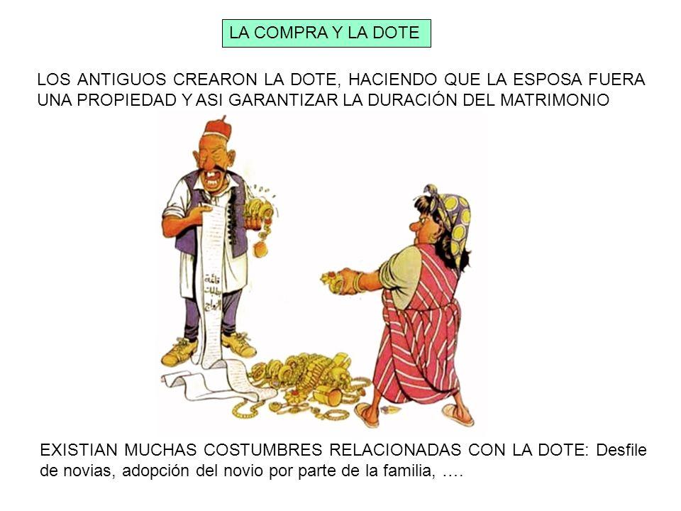LOS ANTIGUOS CREARON LA DOTE, HACIENDO QUE LA ESPOSA FUERA UNA PROPIEDAD Y ASI GARANTIZAR LA DURACIÓN DEL MATRIMONIO EXISTIAN MUCHAS COSTUMBRES RELACI