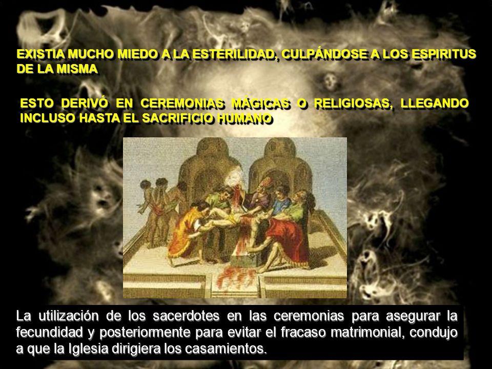 EXISTIA MUCHO MIEDO A LA ESTERILIDAD, CULPÁNDOSE A LOS ESPIRITUS DE LA MISMA ESTO DERIVÓ EN CEREMONIAS MÁGICAS O RELIGIOSAS, LLEGANDO INCLUSO HASTA EL
