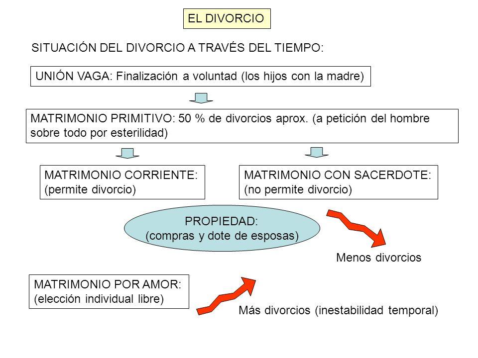 EL DIVORCIO SITUACIÓN DEL DIVORCIO A TRAVÉS DEL TIEMPO: UNIÓN VAGA: Finalización a voluntad (los hijos con la madre) MATRIMONIO PRIMITIVO: 50 % de div