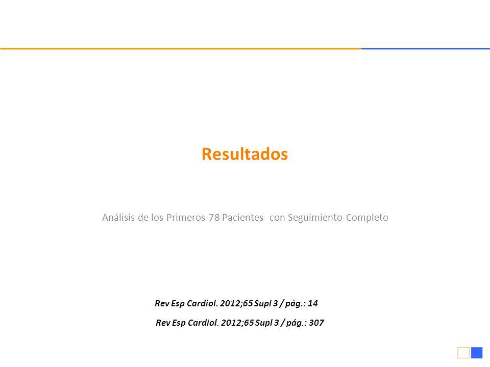 Resultados Análisis de los Primeros 78 Pacientes con Seguimiento Completo Rev Esp Cardiol. 2012;65 Supl 3 / pág.: 14 Rev Esp Cardiol. 2012;65 Supl 3 /