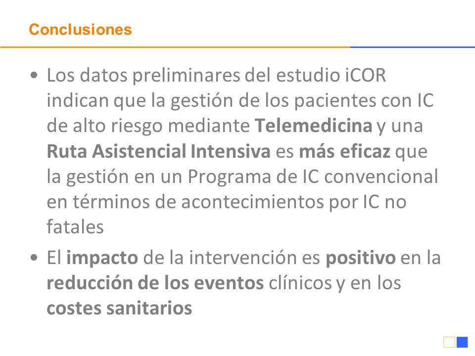 Conclusiones Los datos preliminares del estudio iCOR indican que la gestión de los pacientes con IC de alto riesgo mediante Telemedicina y una Ruta As