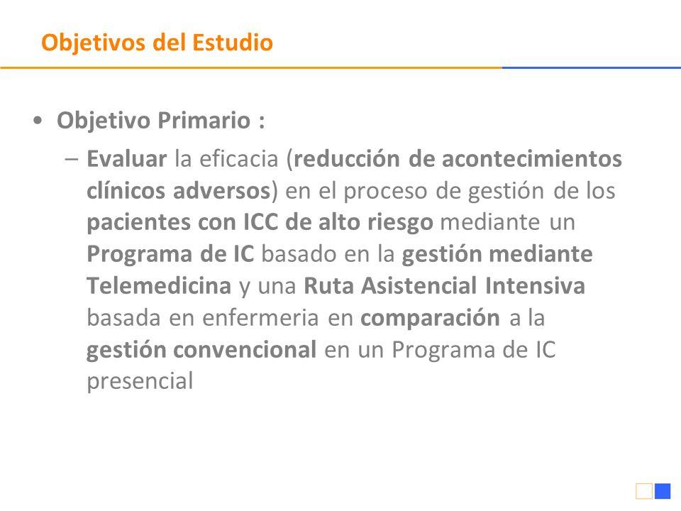Objetivos del Estudio Objetivo Primario : –Evaluar la eficacia (reducción de acontecimientos clínicos adversos) en el proceso de gestión de los pacien