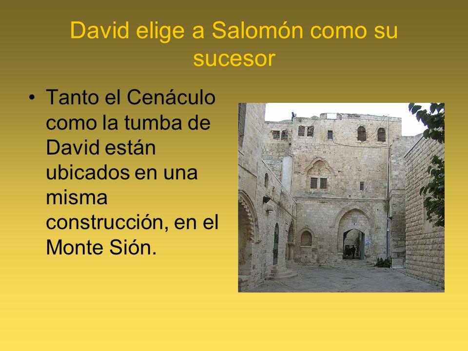 David elige a Salomón como su sucesor Tanto el Cenáculo como la tumba de David están ubicados en una misma construcción, en el Monte Sión.