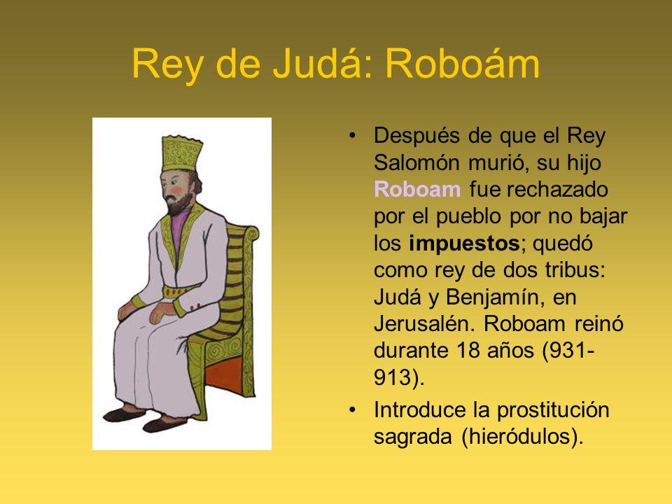 Rey de Judá: Roboám Después de que el Rey Salomón murió, su hijo Roboam fue rechazado por el pueblo por no bajar los impuestos; quedó como rey de dos