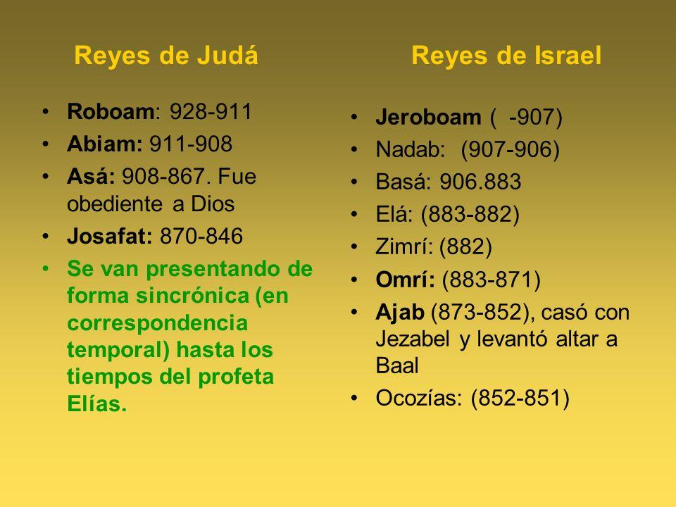Reyes de Judá Reyes de Israel Roboam: 928-911 Abiam: 911-908 Asá: 908-867. Fue obediente a Dios Josafat: 870-846 Se van presentando de forma sincrónic