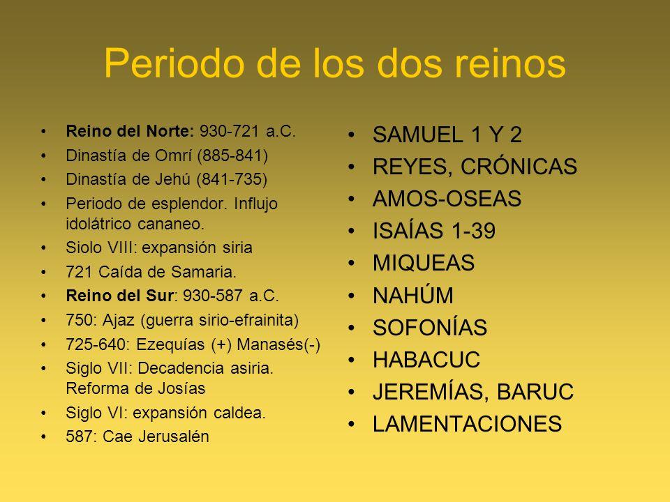 Periodo de los dos reinos Reino del Norte: 930-721 a.C. Dinastía de Omrí (885-841) Dinastía de Jehú (841-735) Periodo de esplendor. Influjo idolátrico