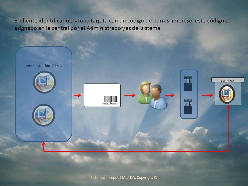 El cliente identificado usa una tarjeta con un código de barras impreso, este código es asignado en la central por el Administrador/es del sistema Administración del sistema OFICINA Sistemas Insepet CIA LTDA.