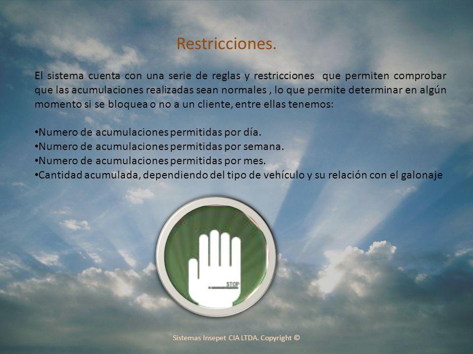 Sistemas Insepet CIA LTDA.Copyright © Restricciones.