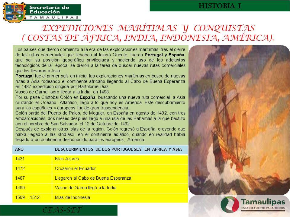 HISTORIA I CEAS-SET EXPEDICIONES MARÍTIMAS Y CONQUISTAS ( COSTAS DE ÁFRICA, INDIA, INDONESIA, AMÉRICA). Los países que dieron comienzo a la era de las
