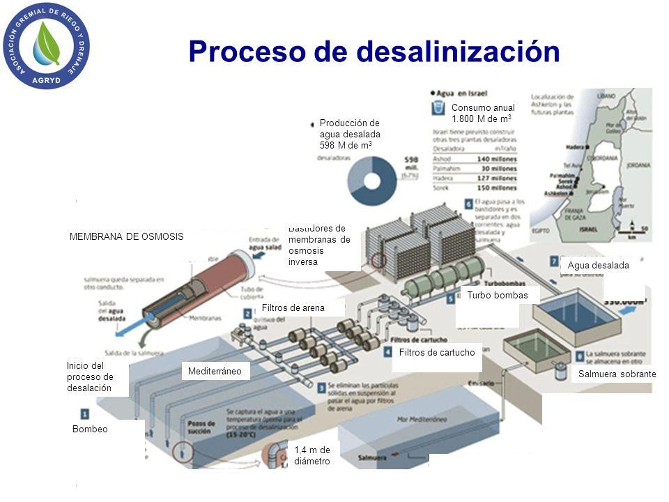 MEMBRANA DE OSMOSIS 1,4 m de diámetro Mediterráneo Inicio del proceso de desalación Bombeo Filtros de arena Filtros de cartucho Turbo bombas Agua desa