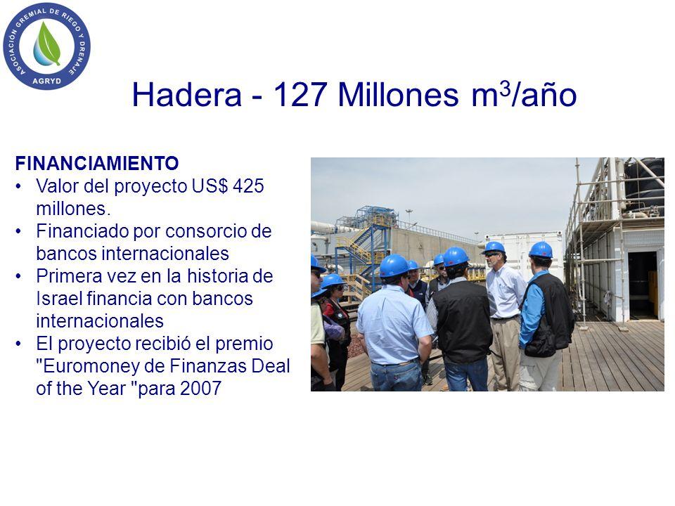 Hadera - 127 Millones m 3 /año FINANCIAMIENTO Valor del proyecto US$ 425 millones. Financiado por consorcio de bancos internacionales Primera vez en l