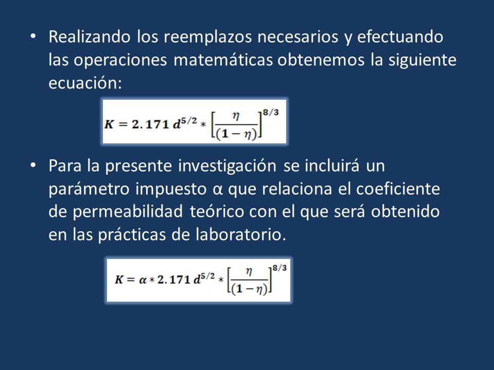 Realizando los reemplazos necesarios y efectuando las operaciones matemáticas obtenemos la siguiente ecuación: Para la presente investigación se inclu