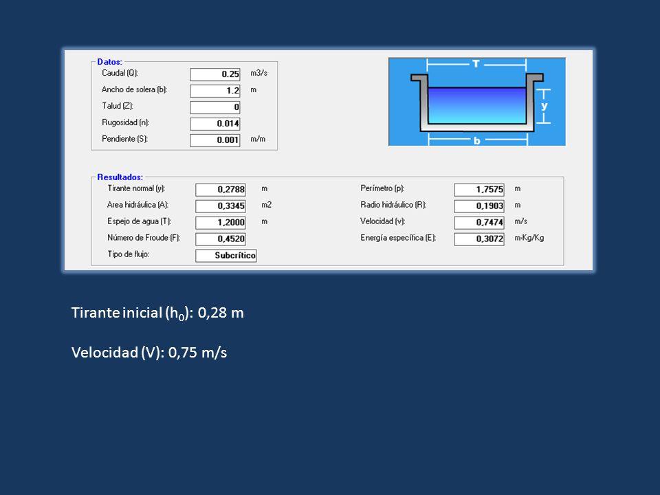 Tirante inicial (h 0 ): 0,28 m Velocidad (V): 0,75 m/s