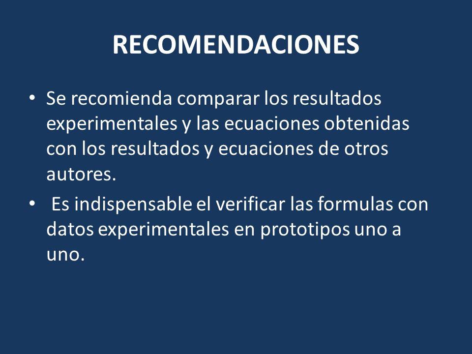 RECOMENDACIONES Se recomienda comparar los resultados experimentales y las ecuaciones obtenidas con los resultados y ecuaciones de otros autores. Es i