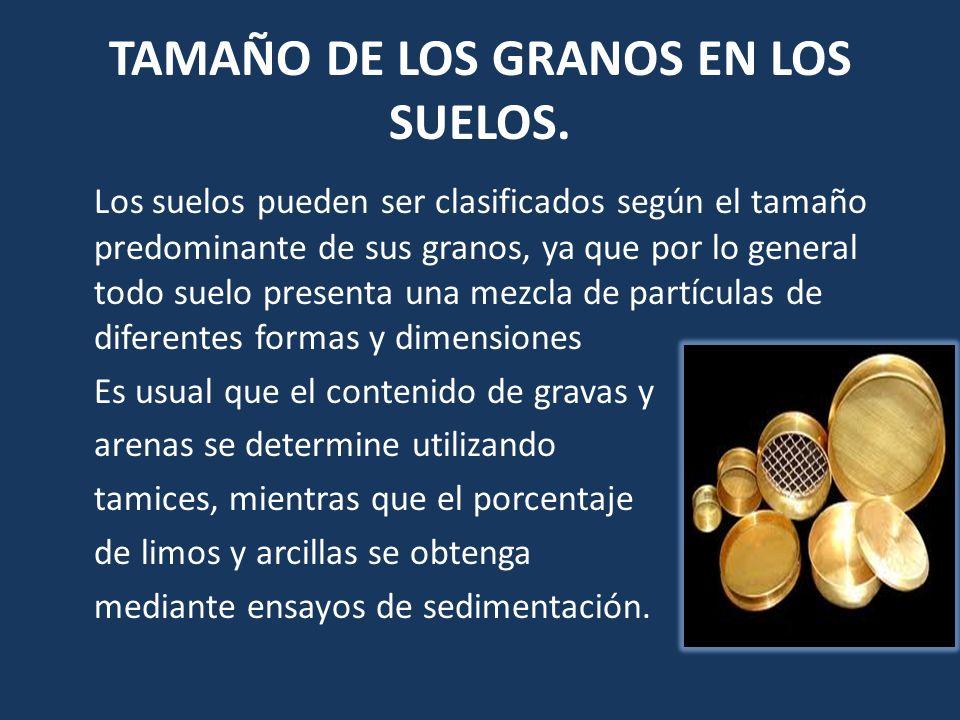 TAMAÑO DE LOS GRANOS EN LOS SUELOS. Los suelos pueden ser clasificados según el tamaño predominante de sus granos, ya que por lo general todo suelo pr