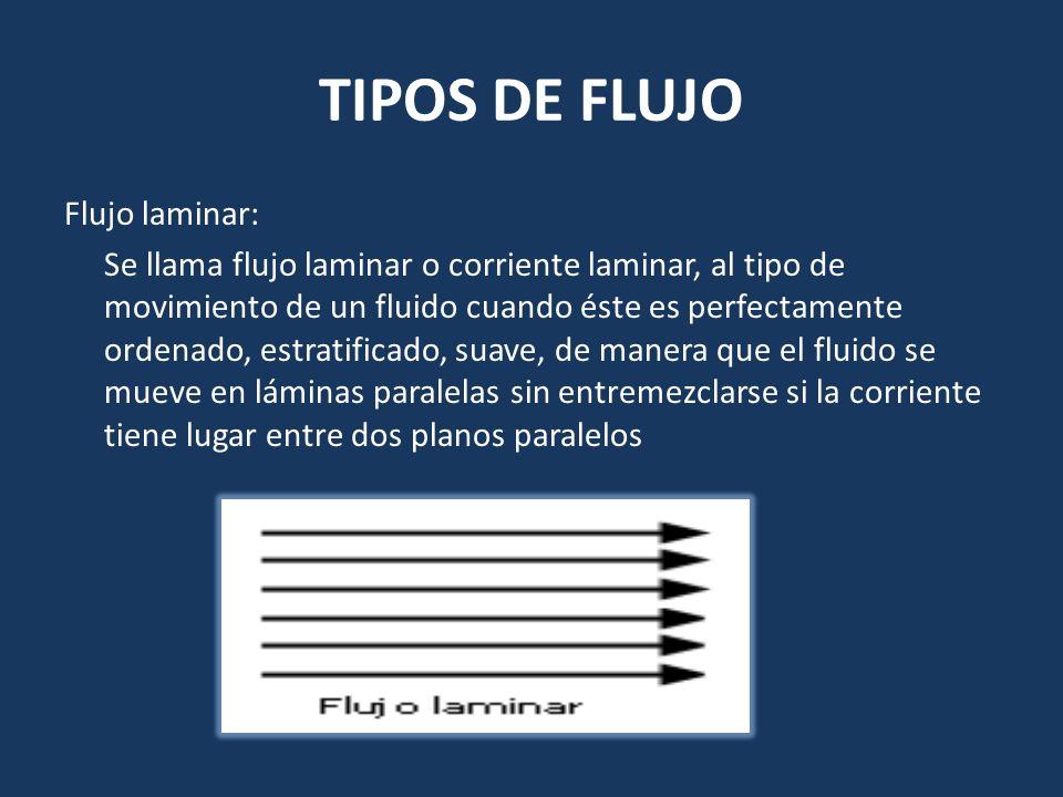 TIPOS DE FLUJO Flujo laminar: Se llama flujo laminar o corriente laminar, al tipo de movimiento de un fluido cuando éste es perfectamente ordenado, es