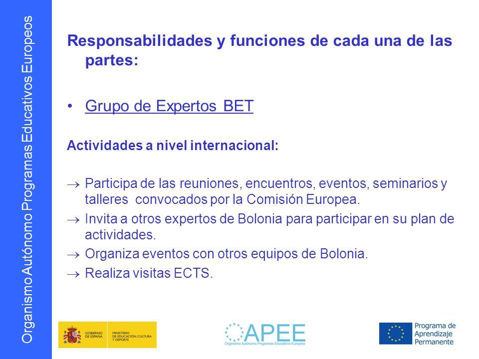Organismo Autónomo Programas Educativos Europeos Responsabilidades y funciones de cada una de las partes: Grupo de Expertos BET Actividades a nivel in