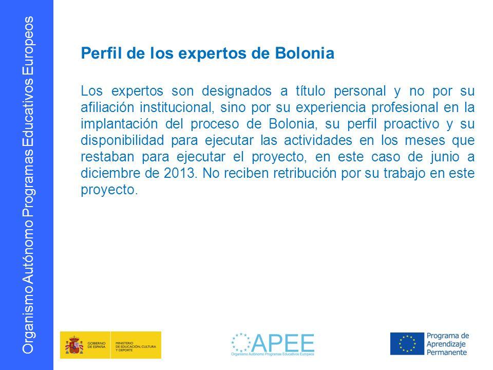 Organismo Autónomo Programas Educativos Europeos Perfil de los expertos de Bolonia Los expertos son designados a título personal y no por su afiliació