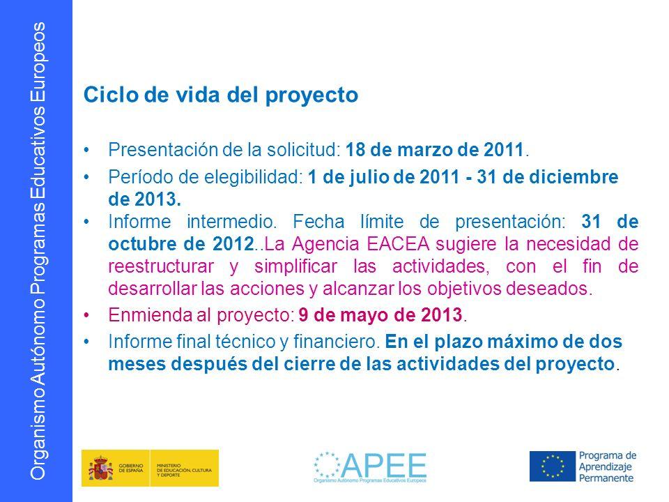 Organismo Autónomo Programas Educativos Europeos Ciclo de vida del proyecto Presentación de la solicitud: 18 de marzo de 2011. Período de elegibilidad