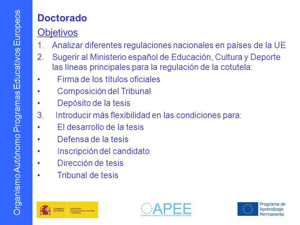 Organismo Autónomo Programas Educativos Europeos Doctorado Objetivos 1.Analizar diferentes regulaciones nacionales en países de la UE 2.Sugerir al Min