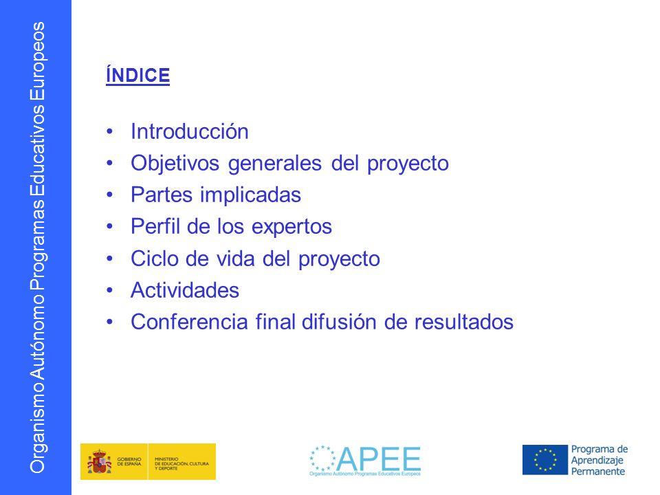 Organismo Autónomo Programas Educativos Europeos ÍNDICE Introducción Objetivos generales del proyecto Partes implicadas Perfil de los expertos Ciclo d