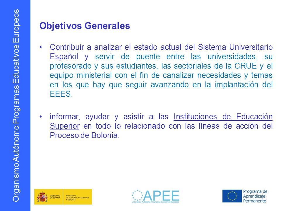 Organismo Autónomo Programas Educativos Europeos Objetivos Generales Contribuir a analizar el estado actual del Sistema Universitario Español y servir