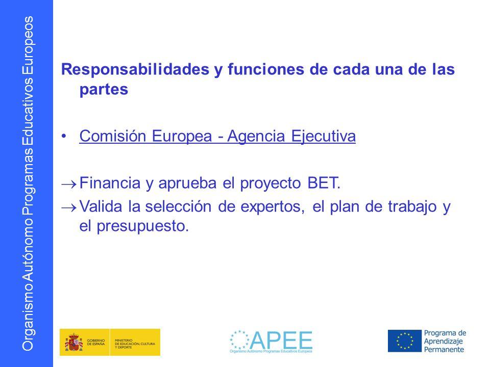 Organismo Autónomo Programas Educativos Europeos Responsabilidades y funciones de cada una de las partes Autoridad Nacional Designa a los expertos y responsables de la coordinación del BET.