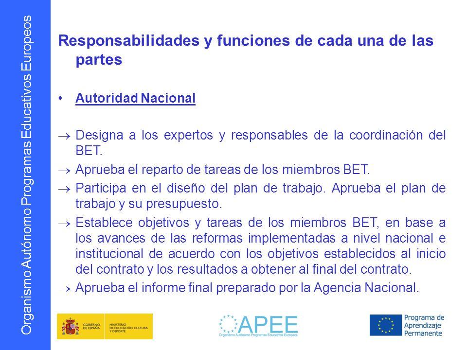 Organismo Autónomo Programas Educativos Europeos Responsabilidades y funciones de cada una de las partes OAPEE Asiste en el proceso de selección y designación de los miembros BET por la autoridad nacional.